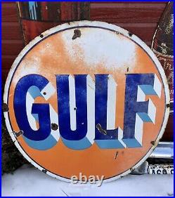 Vintage original 1940s Gulf Double Sided Porcelain Sign 42 gas station oil