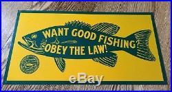 Vintage pa pennsylvania fish fishing hunting game commission metal sign