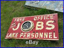 Vintage porcelain neon jobs clock sign
