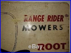 Vintage rare root built range rider lawn mower advertisement metal sign