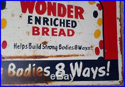 Vintage steel Wonder Bread sign collectible old food ad advertising 18 x 30 inch