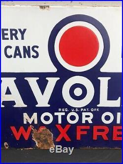 Vtg 1934 Havoline Motor Oil Wax Free Double Sided Porcelain Sign 21 Texaco Rare