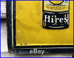 Vtg 1937 Hires Root Beer Sign Embossed Tin 27.5x 9.75 Rare Early Soda Pop Ad