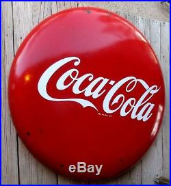 Vtg Coca Cola Round Button Sign 48 1950's Red Coke Porcelain Metal Will Freight