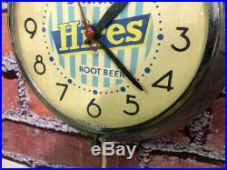 Vtg Ingraham Advertising Hires Root Beer Soda-dads Chrome Diner-wall Clock Sign