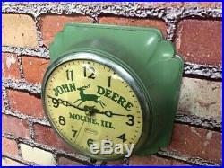 Vtg Ingraham John Deere Old Tractor Dealer Advertising Farm Store Clock Sign