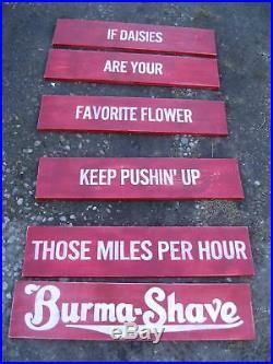 Vtg Look Burma Shave Reproduction Wood Sign HP 6 Pcs Any Slogan Small Set
