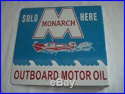 Vtg Monarch Outboard Motor Oil SOLD HERE Double Sided Advertising Stout Sign Co