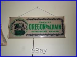 Vtg OREGON CHAINSAW CHAIN Lumberjack DEALER LIGHTED Advertising SIGN circa 1948