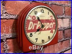 Vtg Red Deco Telechron Dr. Pepper Soda Store Advertising Diner Wall Clock Sign