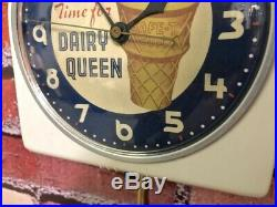 Vtg Telechron Dairy Queen Advertising Ice Cream Soda Diner Wall Pub Clock Sign