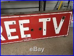 WOW! VinTagE Original Neon FREE TV Sign 2 SIDED PORCELAIN Nice OLD Hotel MOTEL